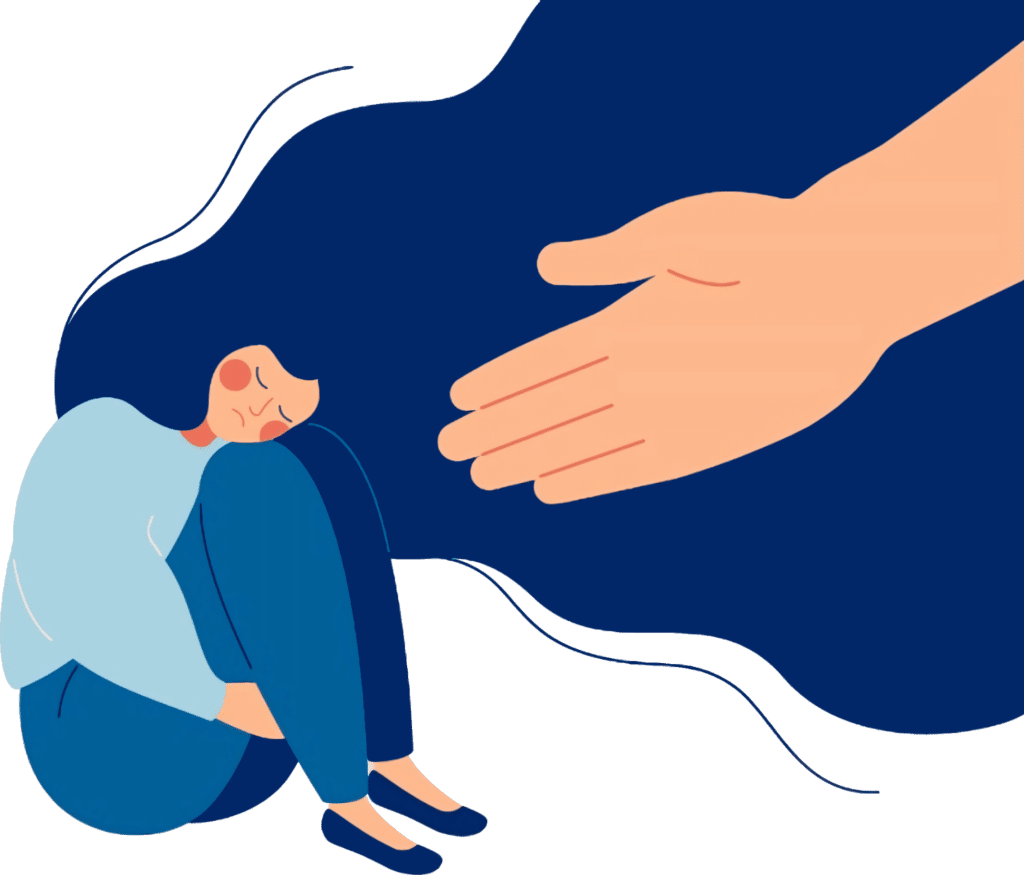 Depressed Lady and Outstretched Hand